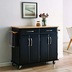 BELLEZE Portable Kitchen Island Cart w/Wood Top, 2 Towel Racks, Drawers & Cabinets w/Adjusta ...