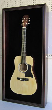 Large Display Case Acoustic and Electric Guitars, Wall mounted Cabinet, UV Protection Lockable D ...