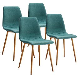 VECELO Dining Side Chairs,Fabric Cushion Seat Back Sturdy Metal Legs,Dining/Living Room Chairs S ...