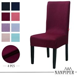 NANPIPER Chair Covers for Dining Room Set of 4 Wine Red Spandex Stretch Dining Chair Slipcovers