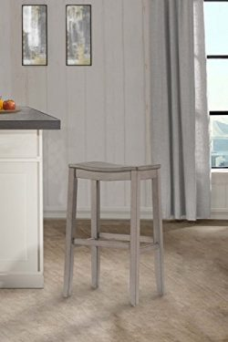 Hillsdale Furniture 4583-827 Hillsdale Fiddler Saddle Backless HeightStool Counter Stool Aged Gray