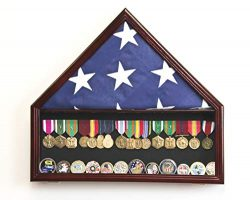 Flag & Medals Pins Patches Insignia Challenge Coin Military Display Case Cabinet Rack (Cherr ...