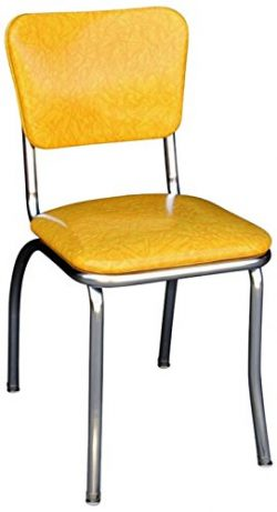 Richardson Seating 4110CIY Retro Chrome Kitchen Chair with 1″ Pulled Seat, NULL, Cracked I ...