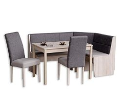Katarina Breakfast Nook Complete Upholstery Corner Bench Fabric, Leather Combination, Solid Beech