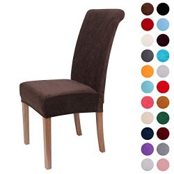 Colorxy Velvet Spandex Fabric Stretch Dining Room Chair Slipcovers Home Decor Set of 2, Dark Coffee