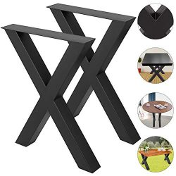 VEVOR Set of 2 Steel Table Legs Dining Table Legs Office Table Legs Computer Desk Legs Steel Ben ...