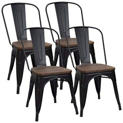 Furmax Black Metal Dining Chair with Wood Seat,Indoor-Outdoor Use Stackable Chic Dining Bistro C ...