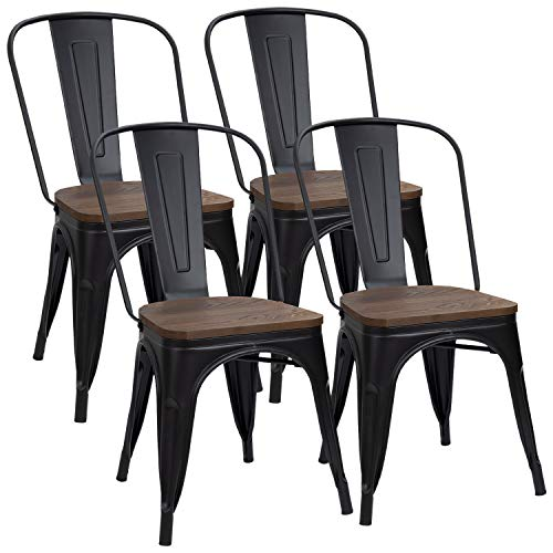 Furmax Black Metal Dining Chair with Wood Seat,Indoor ...