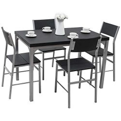 Tangkula Dining Table Set 5 PCS Modern Kitchen Dining Room Wood Top Table and Chairs Home Breakf ...