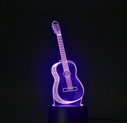 3D Light Optical Illusion Desk Light Table Lamp Smart Home Night Lights 7 Colors Change (Guitar)