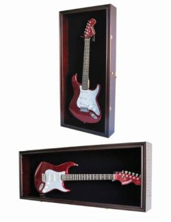 Guitar Display Case Cabinet Wall Hanger for Fender or Electric Guitars w/Uv Protection- Lockable ...
