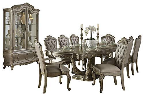 Fenti Old World European 10PC Dining Set Table, 2 Arm, 6 Side Chair, Buffet & Hutch in Gold