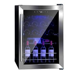 SMETA Compressor Wine Cooler 19 Bottle Freestanding LED Touchscreen Wine Cooler Refrigerator, Bl ...