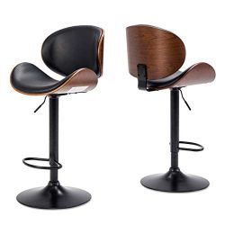 Belleze Set of (2) Bar Stool Modern Adjustable Counter Height Swivel Walnut Curved Back Faux Lea ...