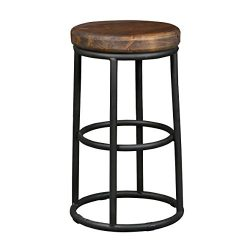 Horseshoe Reclaimed Wood and Iron Counter Stool – Black/mahogany brown Counter Stool Wood  ...