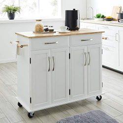 BELLEZE Rolling Kitchen Cart On Wheels Cabinet Storage Cart Island Heavy Duty Storage Rolling Tr ...