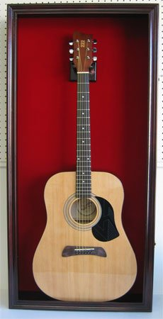 LARGE Acoustic Guitar Display Case Cabinet, Fit most Guitars, with Lock, Mahogany Finish