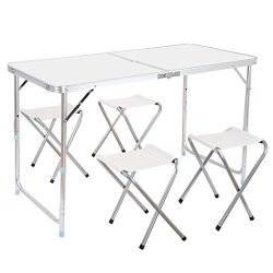 Finether Height Adjustable Folding Table and 4 chairs, Lightweight Portable Aluminum Folding Tab ...