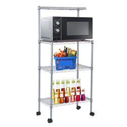 Bakers Rack | Coldcedar 3-Tier Stainless Steel Removable & Adjustable Microwave Cart for Kit ...