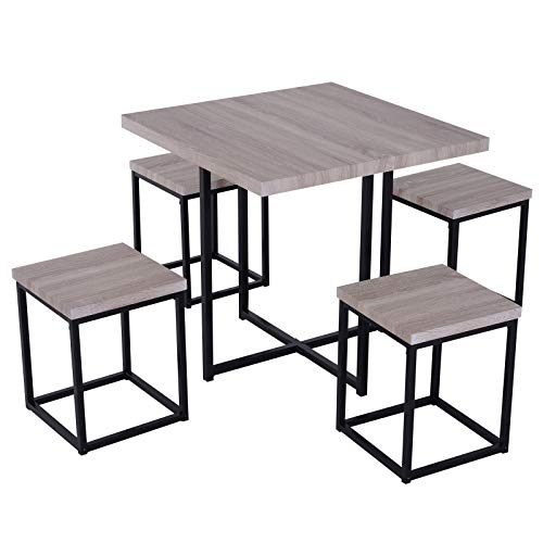 HOMCOM 5 Piece Wood Steel Space Saving Dining Room Table Set with Stools