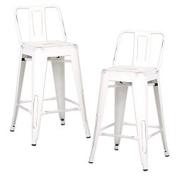 AC Pacific Modern Industrial Metal Barstool with Bucket Back and 4 Leg Design, 24″ Seat Ba ...