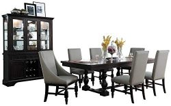 Radono Modern Country 8PC Dining Set Table, 2 Arm Chair, 4 Side Chair, Buffet & Hutch in Cherry