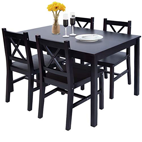 Merax Solid Wood Dining Table with 4 Chairs, Kitchen Dining Table Chair Set of 5 (Espresso)