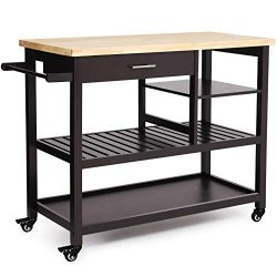 VASAGLE Rubber Wood Kitchen Island, Rolling Utility Cart with Drawer and Lockable Wheels, Brown  ...