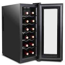 SUPER DEAL 12 Bottle Thermoelectric Wine Cooler Chiller with Digital Control, Freestanding Refri ...