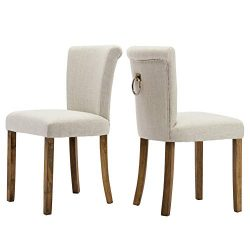 Fabric Dining Room Upholstered Chairs, Set of 2, Armless with Curved Wood Legs and Ring Pull, Beige