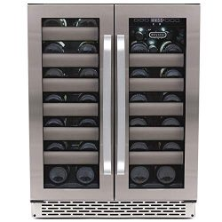 Whynter BWR-401DA Elite 40 Bottle Seamless Door Dual Zone Built-in Wine Refrigerator, Stainless  ...