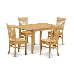 East West Furniture NOVA5-OAK-W 5 Piece Dining Table and 4 Chairs Set