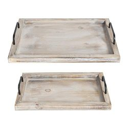 Besti Rustic Vintage Food Serving Trays (Set of 2) | Brown Whitewashed Nesting Wooden Board with ...