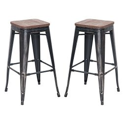 "Merax 30"" High Backless Metal Indoor-Outdoor Bar Stool with Wooden Seat, Set of 2 (Distres ..."