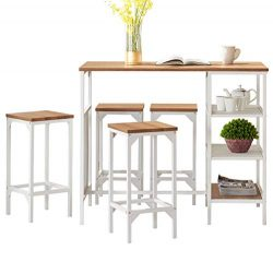 O&K Furniture 5-Piece Dining Room Bar Table Set, Modern Industrial Bistro Restaurant Dining  ...