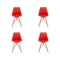 Dining Chairs Set of 4 Modern Design Padded Seat Metal Legs for Home Kitchen Office Red Polorim