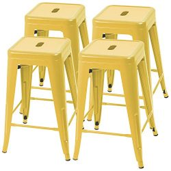 Furmax 24 Inches Yellow Metal Bar Stools High Backless Indoor-Outdoor Counter Height Stackable S ...