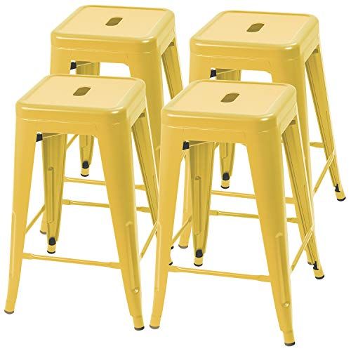 furmax 24 inches yellow metal bar stools high backless indoor outdoor counter height stackable. Black Bedroom Furniture Sets. Home Design Ideas