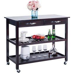 Harper&Bright Designs Kitchen Island Cart with Wheels Drawers & Shelves Storage Shelf(Es ...