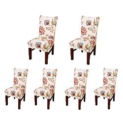 SoulFeel Set of 6 x Stretchable Dining Chair Covers, Spandex Chair Seat Protector Slipcovers for ...