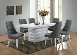 Kings Brand Furniture – Milan 7 Piece White Modern Rectangle Dinette Dining Room Table &am ...