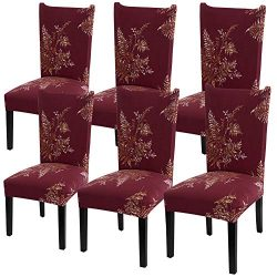 YISUN Modern Stretch Dining Chair Covers Removable Washable Spandex Slipcovers for High Chairs 4 ...