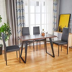 Modern Dining Table Dining Chair for Customized Combination | 1 Kitchen Room Table / 4 Black Cha ...