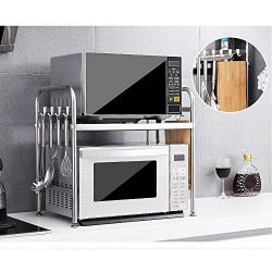 HTYX 2 Tier Microwave Stand Storage Rack Kitchen Stainless Steel Shelving Baker's Rack wit ...