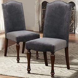 ARGOHOME Fabric Upholstered Dining Chairs Set of 2 – Classic Parsons Chair with Copper Nai ...