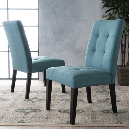 Chaplin Teal Fabric Dining Chair (Set of 2)