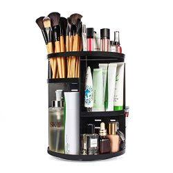 sanipoe 360 Rotating Makeup Organizer, DIY Adjustable Makeup Carousel Spinning Holder Storage Ra ...