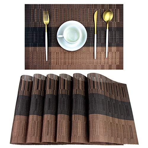 Pigchcy Placemats,Washable Vinyl Woven Table Mats,Elegant Placemats for Dining Table Set of 6(Brown)