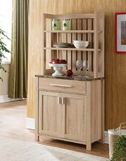 Major-Q Modern Contemporary Style 64″ H Baker's Rack Buffet Console Wooden Weathered ...