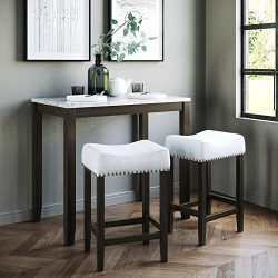 Nathan James 41202 Viktor Dining Set Kitchen Pub Table Marble Top Fabric Seat Wood Base, Light G ...